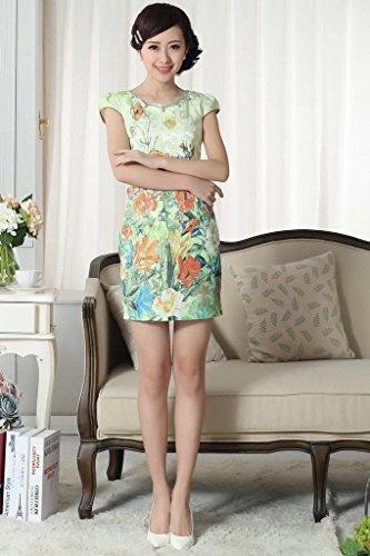 Smile YKK Qipao Robe Courte Rétro Fasion Femme Orientale Coton Multicolore