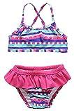 CharmLeaks Baby Bunt Regenbogen Two Piece Mit Rüschen Bikini Tankini Set für Mädchen 68 / 3-6 Monate