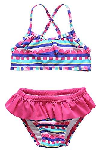 CharmLeaks Baby Bunt Regenbogen Two Piece Mit Rüschen Bikini Tankini Set für Mädchen 86 / 12-18 Monate