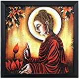 Lord Buddha || Paper Plane Design Exclusive Framed Wall Art Paintings For Living Room And Bedroom. Frame Size (12 Inch X 12 Inch, (Synthetic, 30 Cm X 3 Cm X 30 Cm, Special Effect Textured)