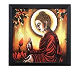 #6: Lord Buddha || Paper Plane Design exclusive Framed Wall Art Paintings for Living room and Bedroom. Frame size (12 inch x 12 inch, (Synthetic, 30 cm x 3 cm x 30 cm, Special Effect Textured)