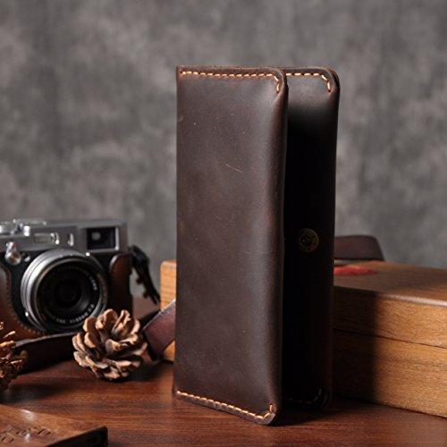 Leder retro-minimalistischen Geldbörse Leder Leder handgefertigt Männer und Frauen 20 Prozent angeschnallt um Handy Tasche Etui dark coffee color