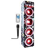 Speaker Karaoke Bluetooth, karaoke set, sound tower, four band speakers, bass enhancer, Bluetooth and Rechargeable Radio with Remote
