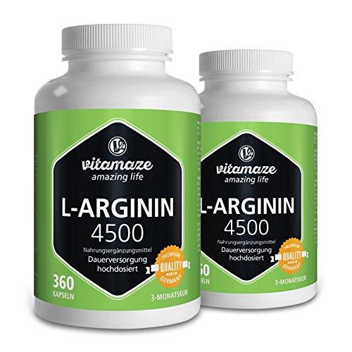 Vitamaze L-Arginin 4500 (Hochdosiert, ohne Zusatzstoffe), 360 Kapseln Dose - 2 Dosen