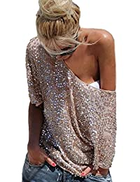 6b916ff58b681 Camisetas Mujer Verano Elegante Loose Fashion Camiseta Color Sólido Manga  Basic Ropa Corta Lentejuelas Tallas Grandes Blusas…