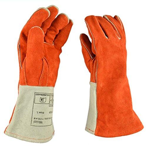 1 paire de gants épais épais de soudure haute résistance à la chaleur robuste de grands gants de cheminée mains gants résistants au feu de protection pour la soudure