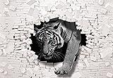 FORWALL Fototapete Tapete 3D Tiger kommt aus der Wand P8 (368cm. x 254cm.) Photo Wallpaper Mural AMF10400P8 Gratis Wandaufkleber Natur Wild Wilde Tier Tiere Tiger Katze Katzen