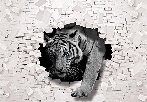 FORWALL Fototapete Tapete 3D Tiger kommt aus der Wand P4 (254cm. x 184cm.) AMF10400P4 Wandtapete Design Tapete