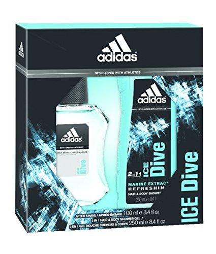 Adidas ice dive confezione regalo 50ml edt + 250ml gel doccia + 150ml deodorant body spray