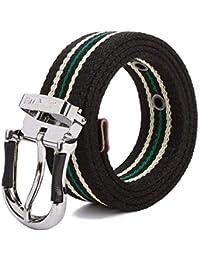 LOF-fei Cinturón de Lona Unisex Agujeros Trenzado Correa Ocasional Militar  Tactico Cinturónes Hebilla Negro c41515c7015a