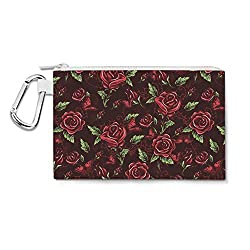 Red Rose With Thorns Canvas Zip Pouch - Small Canvas Pouch 7x5 inch - Multi Purpose Pencil Case Bag in 6 sizes
