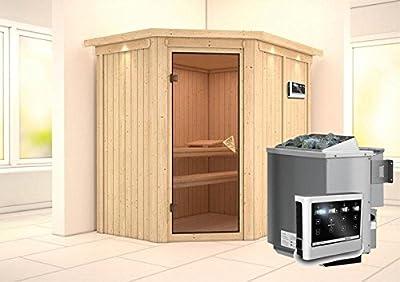 Carin - Karibu Sauna inkl. 9-kW-Bioofen - mit Dachkranz - von Woodfeeling GmbH auf Du und dein Garten