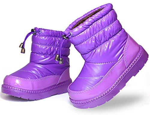 Happy Cherry - Bottes de Neige pour Enfant Fille Mi-mollet Fourrure Entièrement Doublé Étanche Hiver Chaudes Fourrées - Taille 26-31 Violet