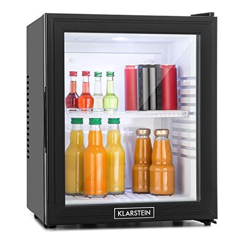 Klarstein MKS-13 • Minibar • Mini Nevera • Nevera para Bebidas • Clase A • 32 litros • Bajo Consumo • Muy silenciosa • 1 Balda • Altura Regulable • Puerta de Cristal • Exterior Negro Mate • Negro