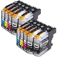 Premium Set di 10 cartucce di inchiostro compatibile con Brother LC-123 / 125 / 127 XL per Brother DCPJ132W DCP-J552DW DCP-J752DW DCP J 152-W DCP J 152-WR DCP-J-4110 DW DCP-J-172 W MFC-J6520 DW MFC-J6720 DW MFC-J6920 DW MFC-J6920 MFC-J870 DW MFC-J470DW MFC-J475DW MFC-J245 DCP-J152 MFC-J 245 MFC-J 4310 DW MFC-J4610DW MFC-J4710DW MFC-6720DW MFC-J650DW MFC-870DW 10xLC-123/125/127-Brother