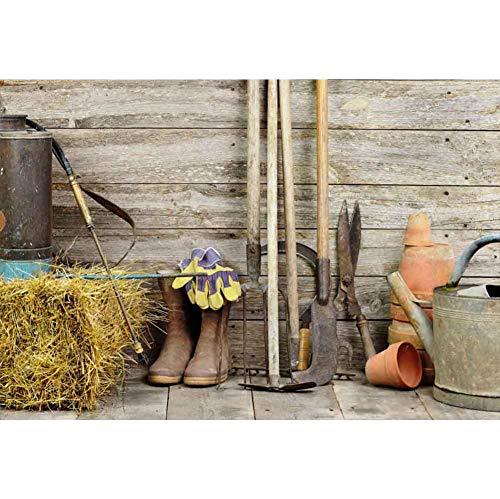 OERJU 2,2x1,5m Holzbrett Hintergrund Bauernhof. Jäten Tools. Regen Stiefel. Handschuhe. Holzwand Hintergrund Western Landschaft Landschaft Foto Porträt Studio Fotografie Hintergrund