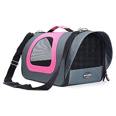 Petcomer Pet Weiche Seiten leicht Carrier Komfort Fluggesellschaften zugelassen Reisen Tasche für Hunde & Katzen 39,9 cm × 22,9 cm × 23,9 cm (Rosa und Grau)