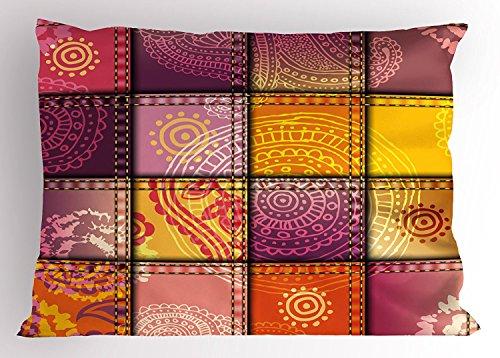 UCKPICASE Mandala Pillow Sham, Ethnic Indian Oriental Asian Style Mandala and Paisley Motifs in Boho Artwork, Decorative Standard King Size Printed Pillowcase, 20X30 inches, Orange Purple