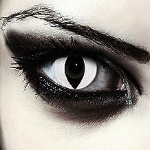 "Lentillas de color blanco para Halloween ojo de gato lentillas sin dioprtías / corregir + gratis caso de lente ""White Cateye"""