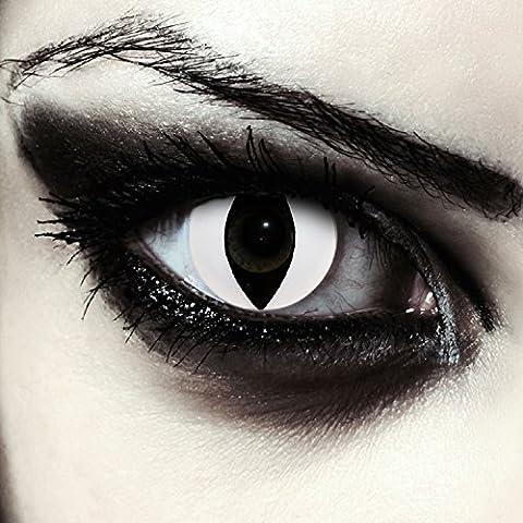 """Lentilles de couleur blanc sans correction oeil de chat costume + Récipient gratuit - pour d'Halloween ou carnaval """"White Cat Eye"""""""