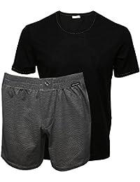 Dolce & Gabbana Masculin Rayé Fil Mercerisé Lisle T-shirt De Marque & Shorts Coffret, Noir/gris