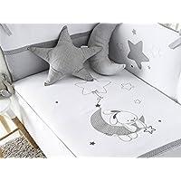 Pirulos Luna - Edredón, protector y cojín, 62 x 125 cm, color gris