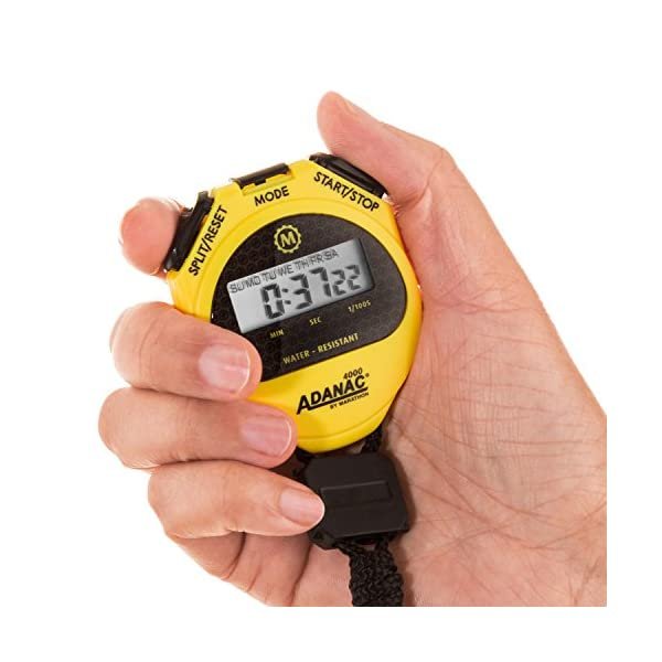 Marathon ST083009 Adanac 4000 Digital Stopwatch Timer With Extra Large Display And Buttons Water Resistant Two Year Warranty Yellow