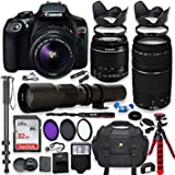 #7: Canon Eos Rebel T6 DSLR Camera with 18-55mm is II Lens Bundle + Canon EF 75-300mm f/4-5.6 III Lens and 500mm Preset Lens + 32GB Memory + Filters + Monopod + Spider Tripod + Professional Bundle