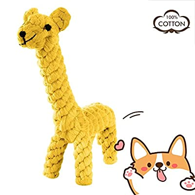 AINIMO Puppy Boredom Rope Toy, Cotton Natural Teeth Cleaning Chew Small Dog Toy (Giraffe)
