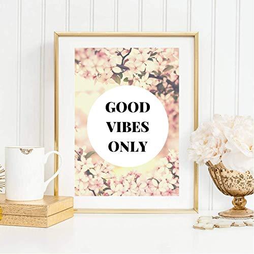 Gute Vibes (Din A4 Kunstdruck ungerahmt Good vibes only, Spruch, Zitat, Blüten rosa Gute Laune Geschenk Druck Poster Bild)