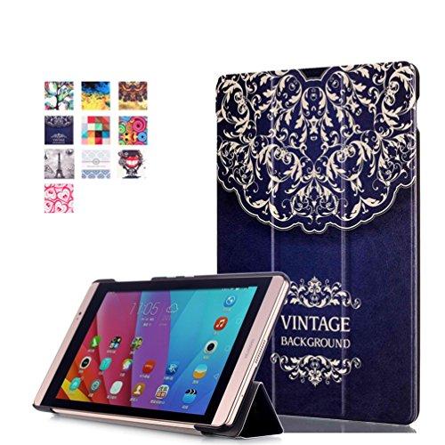 Huawei MediaPad M2 8.0 Case - PU Leder Tasche Smart Cover Case Lederhülle für Huawei MediaPad M2 8.0 Zoll Tablet Schutzhülle Ledertasche Etui mit Standfunktion (#2 Blume-Rebe)