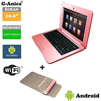 "G-Anica Ordenador portátil de 10.1""(WIFI, 1.5GHz 1GB de RAM, 8GB de disco duro) Android 4.4.2 Netbook color Rosa+Bolso del ordenador portátil"