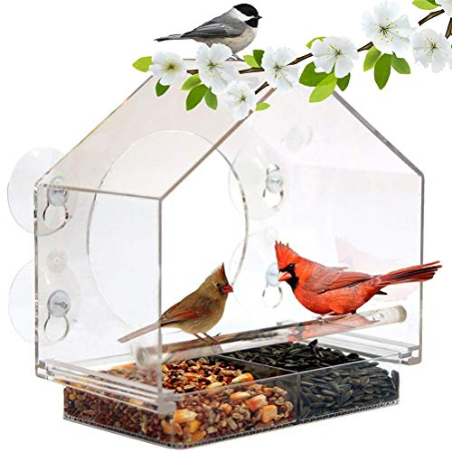 Fenster-Vogelhäuschen mit Saugnäpfen, Acryl glasklar Outdoor Futterstellen für Wildvögel, leicht zu reinigen und zu füllen, sehen einfach Kardinäle, Finken und Orioles Feed