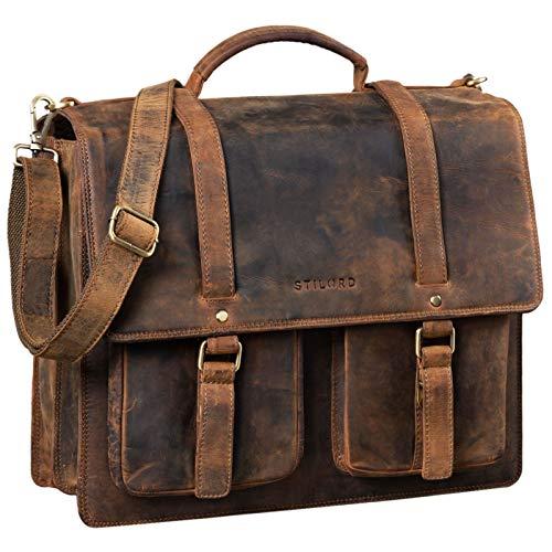 STILORD \'Fernando\' Ledertasche Aktentasche Vintage Große Umhängetasche für Lehrer Business Laptoptasche Trolley Aufsteckbar Echtes Leder, Farbe:mittel - braun