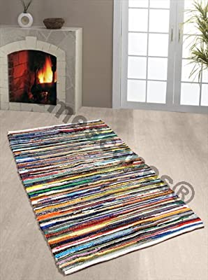 Homescapes - 100% Recycled Cotton Chindi Rug Multi Coloured Stripes on White Base - cheap UK light shop.