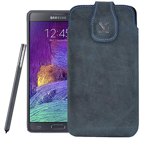Original Suncase Tasche für / Samsung Galaxy Note Edge (SM-N915FY) / Leder Etui Handytasche Ledertasche Schutzhülle Case Hülle / in pebble-blue