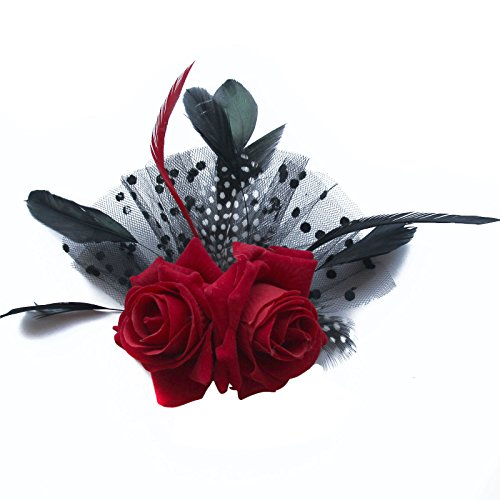 jelinda-rot-rose-schwarz-punkt-netto-hochzeit-fascinator-haarschmuck-feder-haarspange