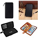 DFV mobile - Executive Wallet Case with Magnetic Fixation and Zipper Closure for => ORANGE MONTE CARLO > Black