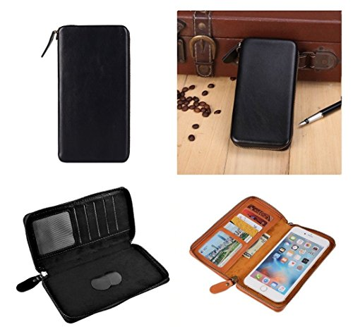 DFV mobile - Executive Wallet Case with Magnetic Fixation and Zipper Closure for => LG D415 OPTIMUS L90 (LG W7) (2014) > Black (Lg D415 Wallet Case)