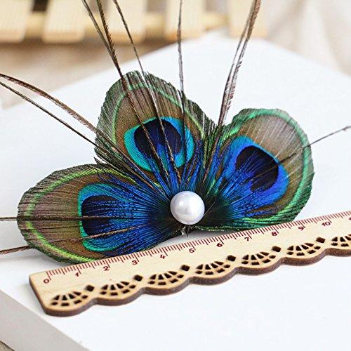 runheng handgefertigt Feder Pfau Haar Clip, natur Feder Fascinator Haarspange mit Weiß Perle