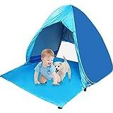 Strandzelt,Popup Zelt Kinder Kinderzelt Spielzelt Spielhaus Zelt mit Boden Sonnenschutz UV-Schutz, Familie Tragbares Strand-Zelt in Blau, Outdoor Beach Tent Tragbar