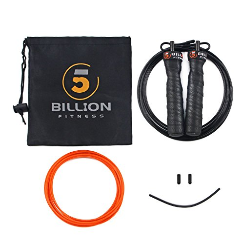5BILLION-Skipping-Rope-Bending-Fitness-Jump-Rope-Adjustable-with-Ball-Bearings-Workout-for-Double-Unders-WOD-Outdoor-MMA-Boxing-Training-Includes-Carry-Case-Extra-Cable