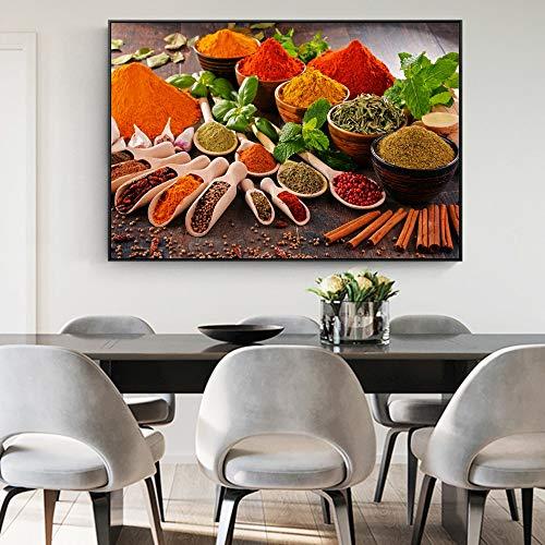 sanzangtang Küche Würze Wanddekoration Leinwanddrucke Küchenthema Ölgemälde Küche Raum Wandkunst Dekoration Poster und Drucke Rahmenlos 70x105cm