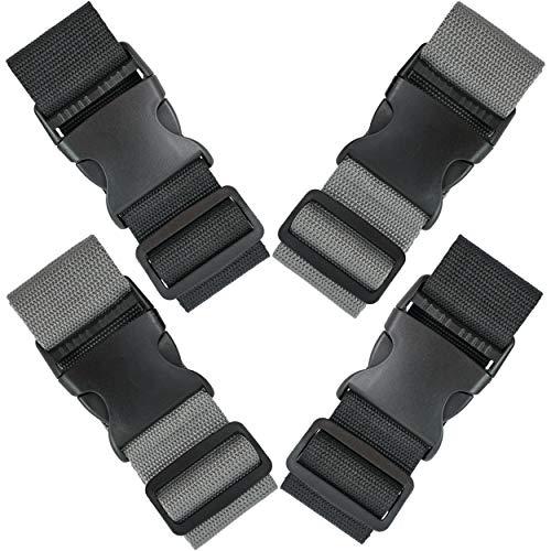 Filous Koffergurt 4 Stück Set Gepäckgurt Kofferband robust Flughafen Gepäckband zum sichern und markieren von Koffern Reisen Urlaub schlicht grau schwarz Kofferschnalle
