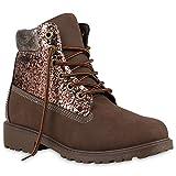 Unisex Damen Herren Worker Boots Outdoor Schnürstiefel Schuhe 123878 Dunkelbraun Glitzer 39 Flandell