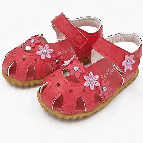 Janly Kinder Mode kausale Sommer flache Blume weiche Unterseite Mädchen Sandale Schuhe Rot