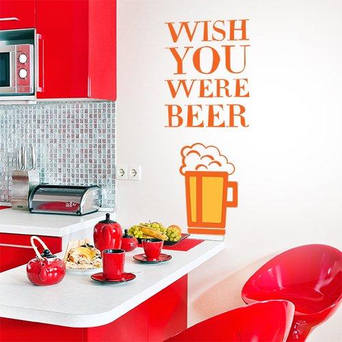 wall art 01295 Adesivo murale Aforisma - Wish You Were Beer - Misure 40x30 cm - Arancio e Giallo Scuro - Decorazione Parete, Adesivi per Muro, Carta da Parati