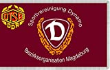 magFlags Flagge: Large SV Dynamo Flag Bezirksorganisation Magdeburg | The logo of the SV Dynamo Bezirksorganisation is not considered as work of authorship because it only consists of text in a si