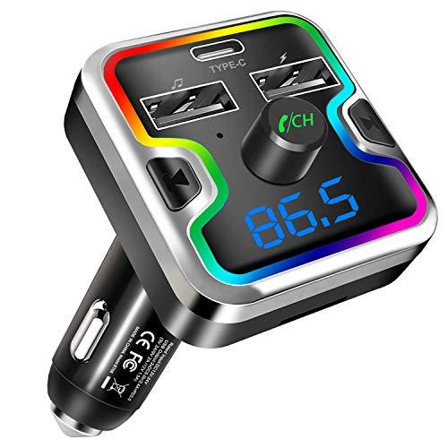 Clydek FM Transmitter, Bluetooth 5.0 Autoradio-Adapter mit PD18w Typ C Ladeanschluss und Buntem Licht, MP3-Player-Autoladegerät, Unterstützt Freisprechen, USB-Stick, TF-Karte