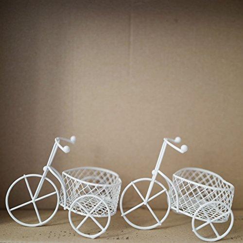 5 pezzi bicicletta a tre ruote cestino forma cuore latta vernice bianco-portaconfetti bomboniere segnaposto
